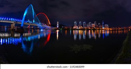 Korea panorama Daejeon expo bridge park at night time in Daejeon city, South korea.