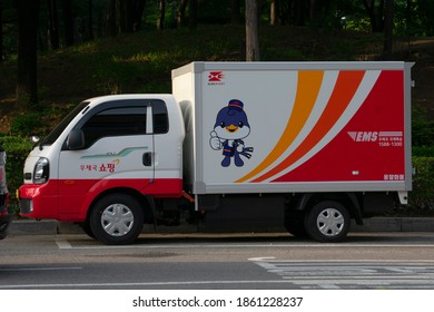 A Korea post delivery truck is parked on the streets of Seoul. (Seoul, Korea. May 25, 2020)
