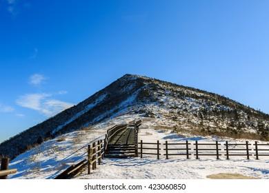 Korea scenic mountain landscape shot at Mount Seoraksan National Park.