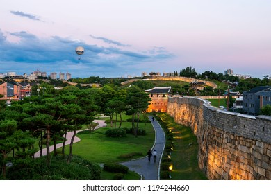 Korea Suwon Hwaseong Fortress,evening summe Have a balloon to see the city  ,summer beautiful South Korea
