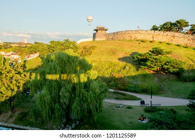 Korea Suwon Hwaseong Fortress,evening summe Have a balloon to see the city ,summer beautiful  public park.South Korea