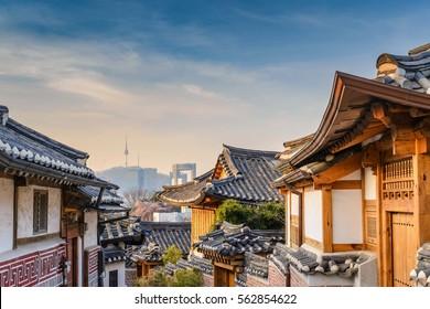Korea traditional house at Bukchon Hanok Village and Seoul city skyline, Seoul, South Korea