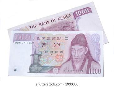 Korean 1000 won banknotes