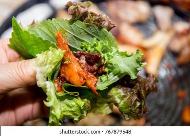 Korean barbecue pork belly with deodeok, Samgyeopsal-gui