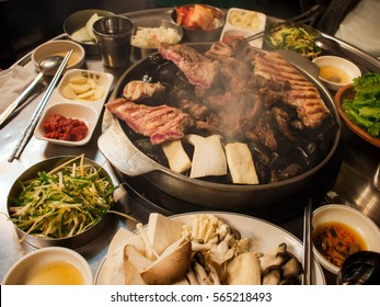 Korean barbecue with side dishes