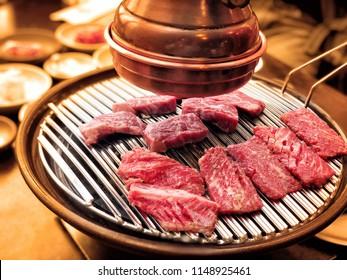 Korean beef barbecue, a popular korean cuisine of grilling meat