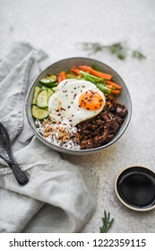 Korean Beef Bibimbap with Black Sesame Rice