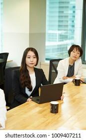 Korean business women at meeting