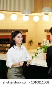 Korean businesswoman on break time at office