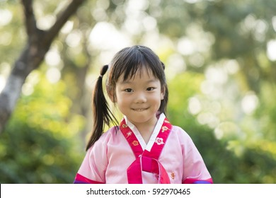 Korean child wearing a traditional Hanbok