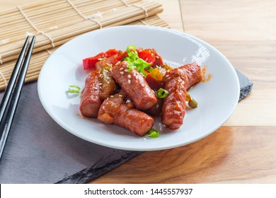 Korean cocktail sausage Yachae Bokkeum with bell peppers