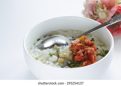 Korean cuisine, dried pollack and radish soup Bukeoguk with rice