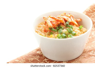 Korean cuisine, fermentation cabbage Kimchi on rice porridge