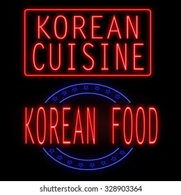 Korean cuisine and food glowing neon signs on black background