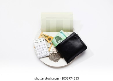 Korean currency on the plate with wallet, coin, cash and bankbook
