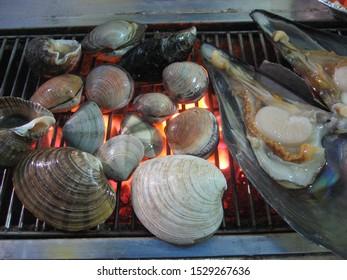 Korean delicious shellfish Briquette grilled