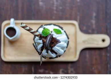 Korean dessert, Bingsoo or Bingsu,Korean shaved ice dessert with sweet toppings