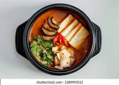 korean dish spicy soup with beef and vegetables with rice and hot pepper