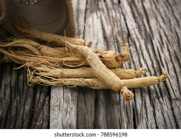 Korean dry ginseng roots on wood background,With copy space.
