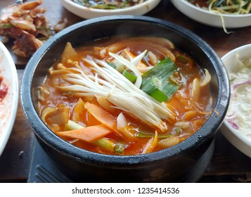 Korean earthen pot of Kimchi stew