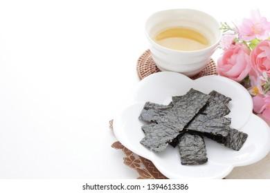 Korean food, almond and seaweed snack