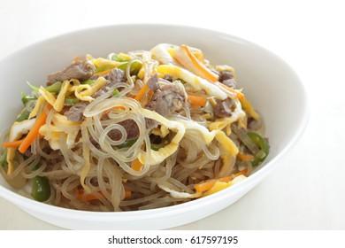 Korean food, Chapchae noodles stir fried
