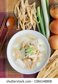 Korean food Dried pollack soup and vegetable