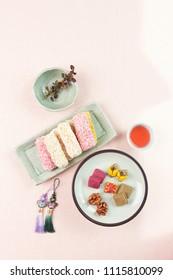 korean food, hangwa and schizandra tea