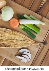 Korean food ingredients dried fish and vegetable, Dried pollack