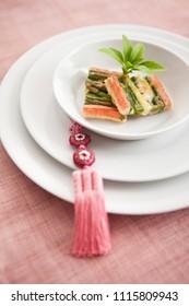 korean food, jeon and korean ornament, norigae
