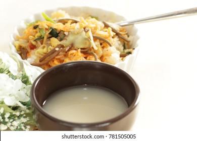 korean food, Makgeolli  fermentation wine and bibimbap rice