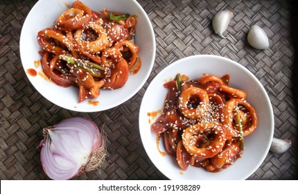 Korean Food - octopus with spicy sauce