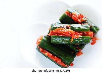 Korean food, Oi kimchi spicy cucumber and radish