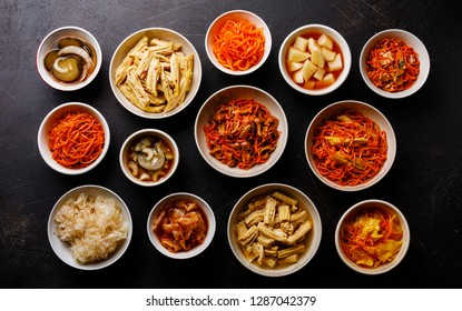 Korean food Pickled vegetables and Hot salads on dark background