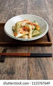 korean food, rice cake with savory sauce - tteokbokki