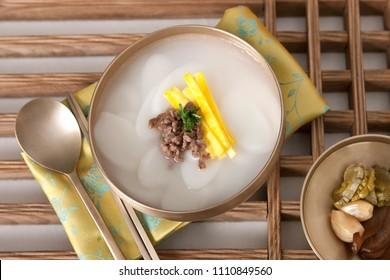 korean food, rice cake soup - tteokguk
