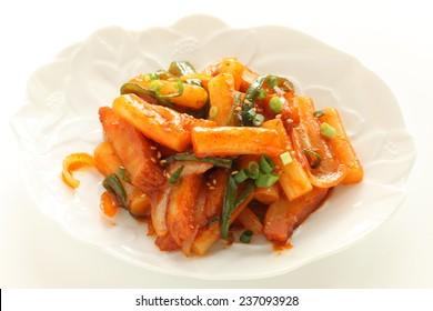 Korean food, rice cake stir fried with vegetable Tteokbokki