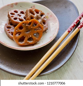 Korean food Simmered soy sauce Lotus root