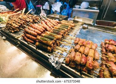 Korean food, snacks, skewers