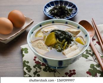 Korean food Soybean and spinach Paste Stew, doenjangguk, miso soup