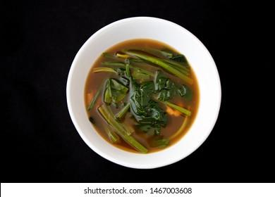 Korean food Soybean and spinach Paste Stew, doenjang guk,