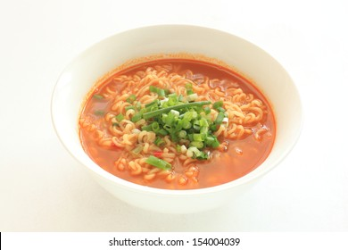 Korean food, spicy ramen noodle with scallion