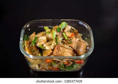 Korean food stir fried fish cakes, eomugbokkeum