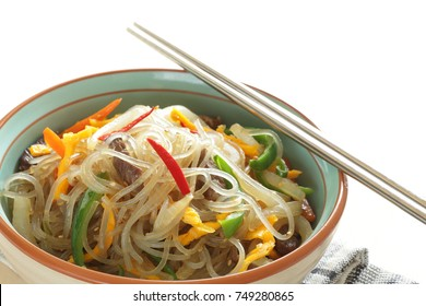 Korean food, sweet potato starch noodle and beef stir fried