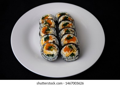 Korean food, wraping rice with seaweed and filled with vegetables and egg