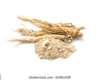 Korean ginseng powder,Dry ginseng isolated on a white background.