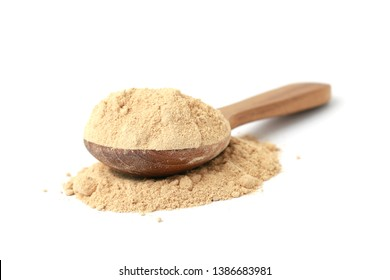 Korean ginseng powder,Dry Ginseng Roots isolated on a white background.
