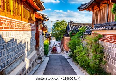 korean girl dressed hanbok in traditional dress at bukchon hanok village seoul south korea