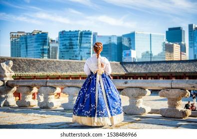 Korean Girl Hanbok Palace Images Stock Photos Vectors Shutterstock