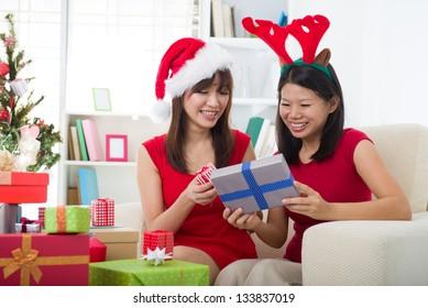 korean girl friends during christmas celebration